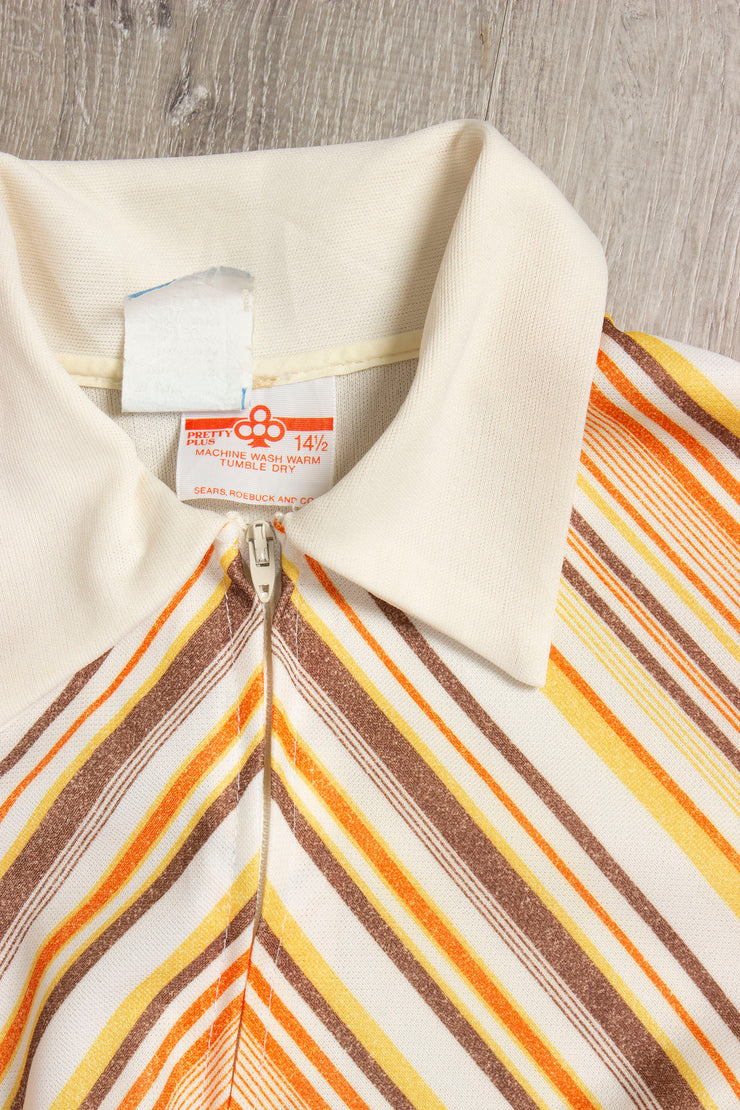 Orange and Brown Striped Vintage Dress (1644695846967)