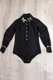 Vintage Black Bodysuit With White Accents (1646750400567)