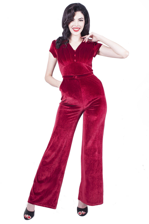 Jitterbug Stretch Velvet Jumpsuit in Wine By Rebel Love - FINAL SALE