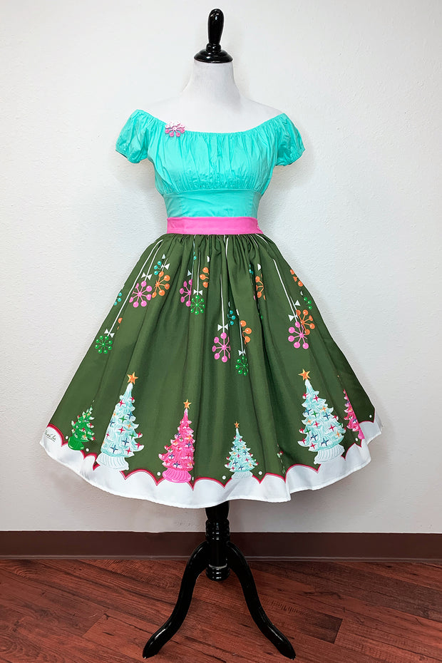 Kitschy Christmas Green Novelty Print Gathered Skirt PRE-ORDER (4271044526135)
