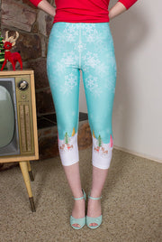 Reindeer Love Recylced High-Waist Capris Leggings