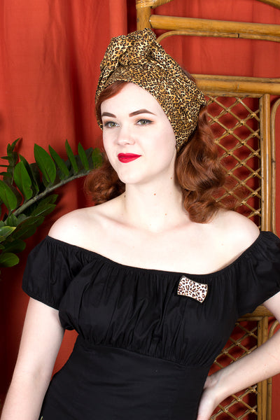 Swirling Turban in Leopard Print by TOBS