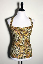 Double Cross Pinup Top in Leopard Print