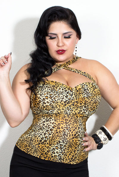 Double Cross Pinup Top in Leopard Print (10458241224)