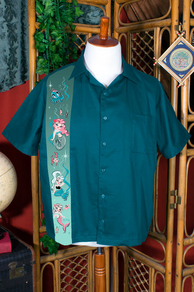 Under The Sea Limited Edition Mermaid Button Down Shirt by Miss Fluff - PRE-ORDER