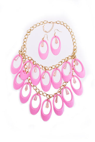 Pink Chandelier Necklace & Earring Set