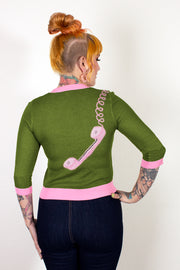 Hold On! Telephone Sweater Green & Pink - PRE-ORDER