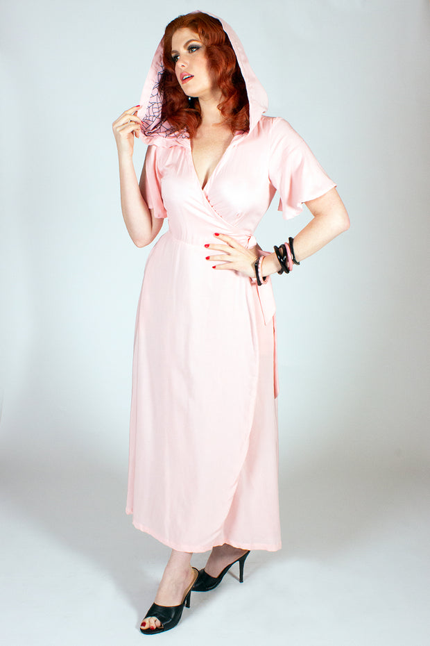 Veronica Hooded Wrap Dress with Spiderweb Lining - PRE-ORDER