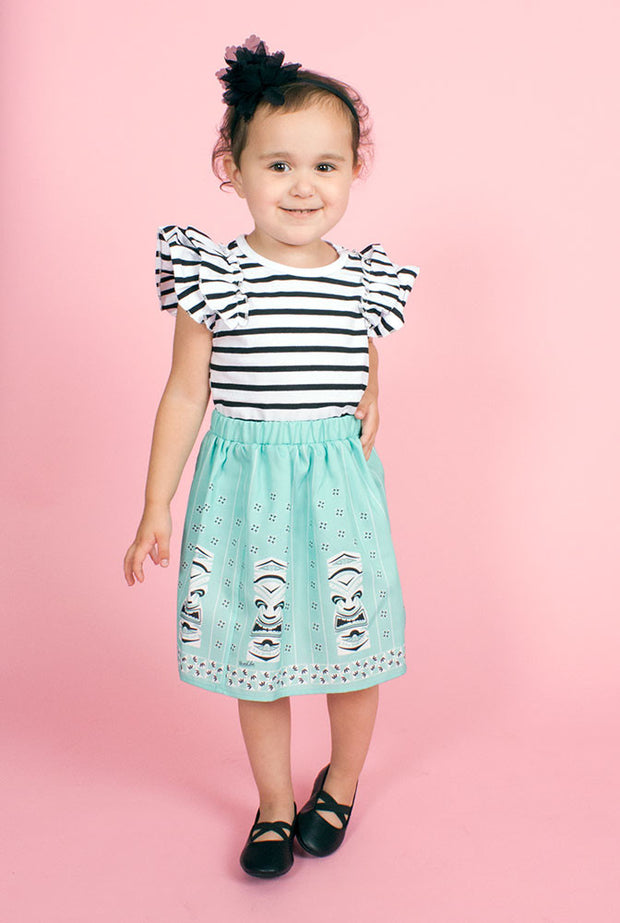Mint Sneaky Tiki Little Girl's Skirt (10326029320)