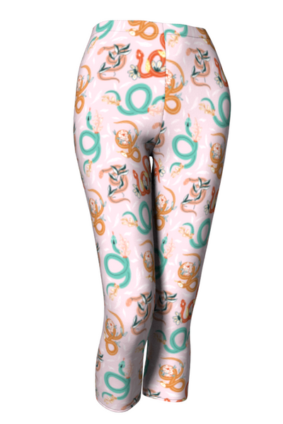 Slithering Snakes Capris Workout Leggings - The Oblong Box Shop