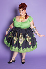 Shrunken Head Novelty Print Gathered Skirt (446501200)