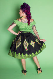 Shrunken Head Novelty Print Gathered Skirt