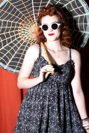 Sourpuss Babydoll Spiderweb Print Dress (712322940983)