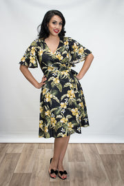 Rachel Wrap Dress in Black Tropical Print by Heart of Haute