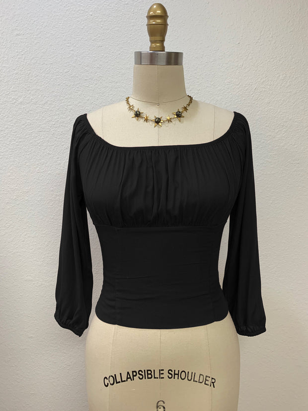 Tabitha Peasant Top Black