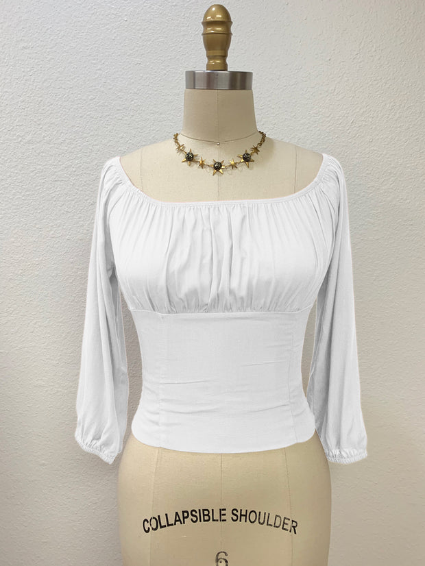 Tabitha Peasant Top White