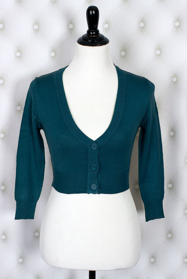 The Ultimate Crop Cardigan in Teal Blue