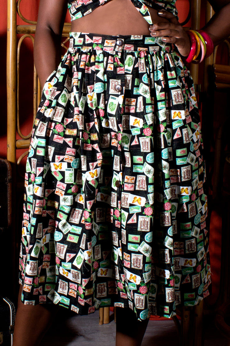 Tiki Travels Button Front Gathered Skirt