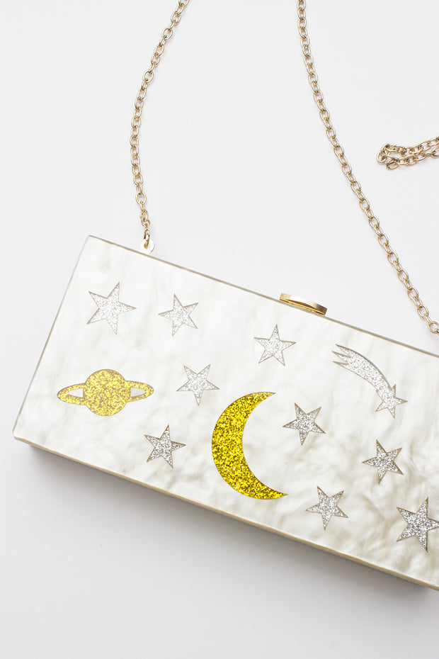 Shooting Star Clutch in White Marble Lucite