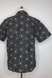 Web Of Lies Spiderweb Glow-in-the-Dark Men's Button Down Shirt (1730829516855)