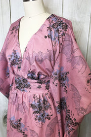 Dearly Beloved Mauve Bat & Floral Print Caftan