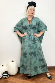 Dearly Beloved Sage Bat & Floral Print Caftan