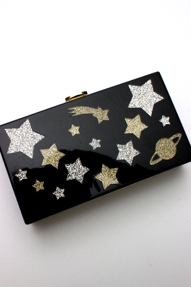 Starry Night Clutch in Black Lucite