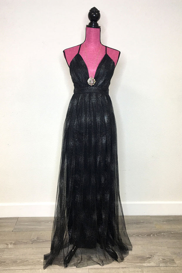 Starburst Maxi Dress Black
