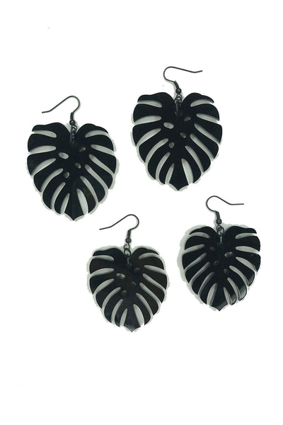 Tee-Ki Togs Monstera Leaf Jet Black Earrings in Medium and Small