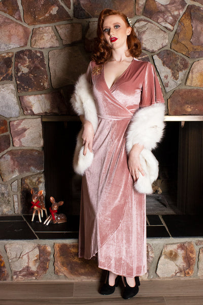 The Starlette Velvet Wrap Maxi Dress in Blush Pink