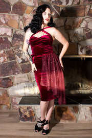 Heavenly Merlot Velvet Double Cross Dress With Matching Celestial Cape