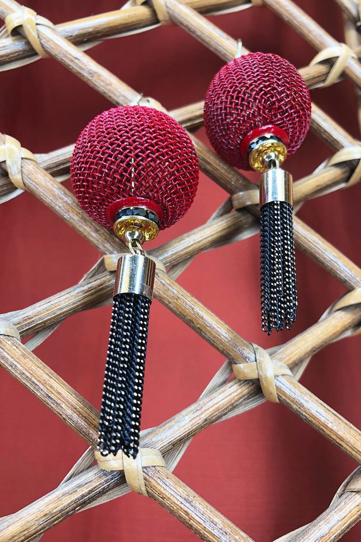 Tee-Ki Togs Burgundy and Black Lantern Earrings with Short Metal Tassels