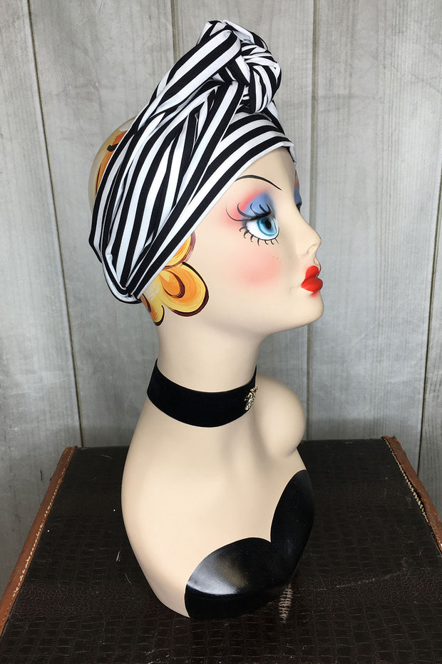 Swirling Turban in Black and White Stripe by TOBS
