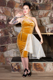 Celestial Gold Velvet Double Cross Dress With Matching Celestial Cape PRE-ORDER
