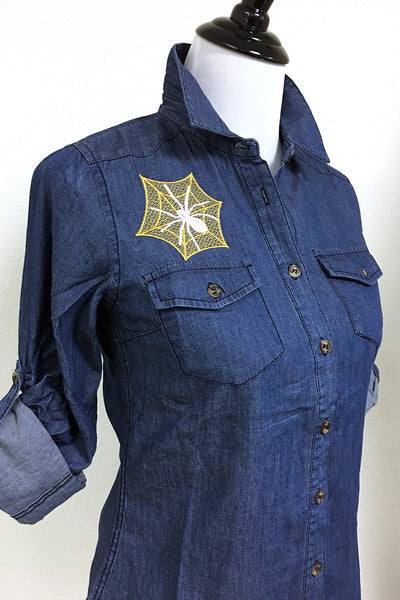 Custom Spiderweb Embroidery Chambray Button Up
