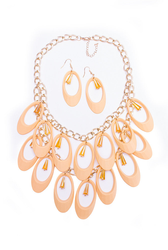 Champagne Chandelier Necklace & Earring Set