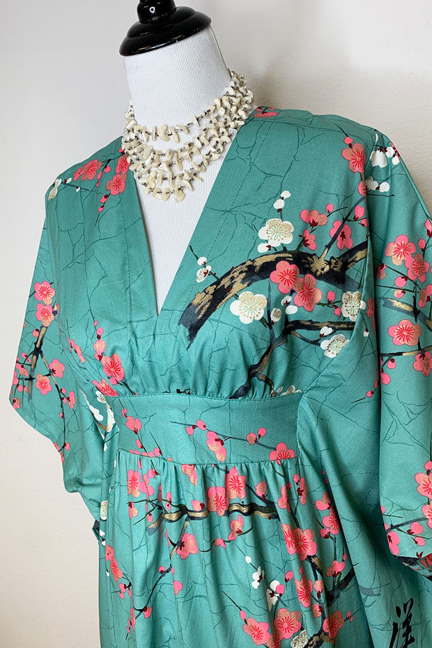 Cherry Blossom in Mint Caftan
