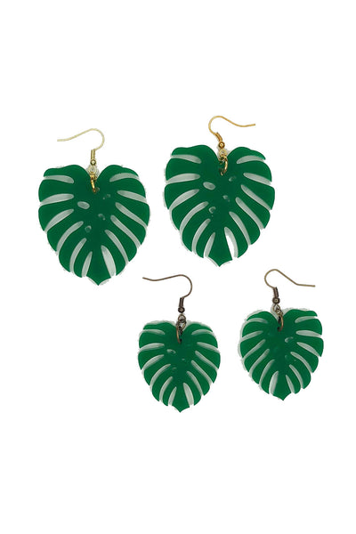 Tee-Ki Togs Monstera Leaf Deep Green Earrings in Medium and Small