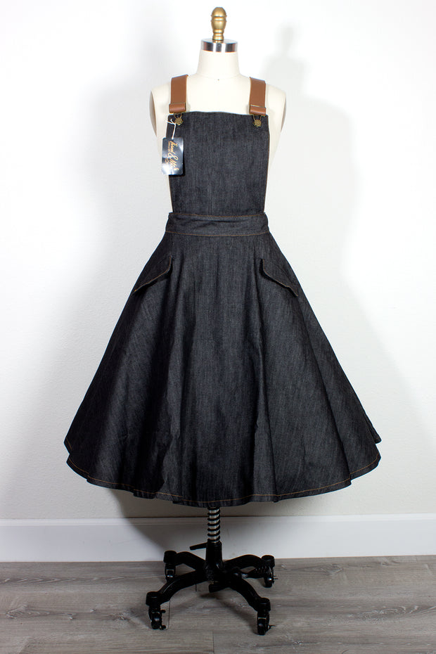 "TOBS Original ""Thread & Mitre"" Collection Denim Overall Flare Skirt Pinafore with Leather Straps (119057645576)"
