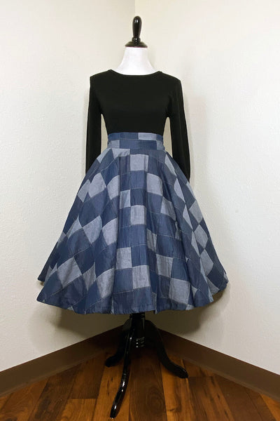 SAMPLE - Denim Patchwork Circle Skirt by The Oblong Box Shop (4271334457399)