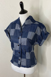 SAMPLE - Denim Patchwork Button Up Top by The Oblong Box Shop (4271337046071)
