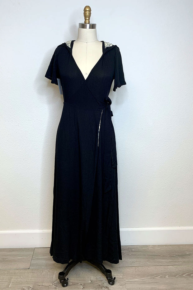 The Veronica Hooded Wrap Dress -  Black with Spiderweb Lining by TOBS LIMITED EDITION