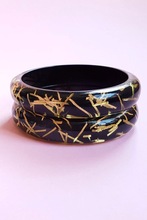 Grace Lucite Confetti Bangle Black & Gold