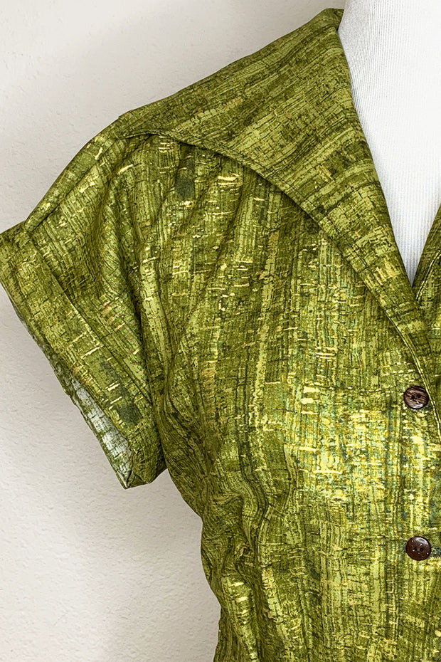 Un-Corked Big Collar Button Up Top Green (1597435805751)