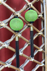 Tee-Ki Togs Olive Green and Black Lantern Earrings with Long Metal Tassels
