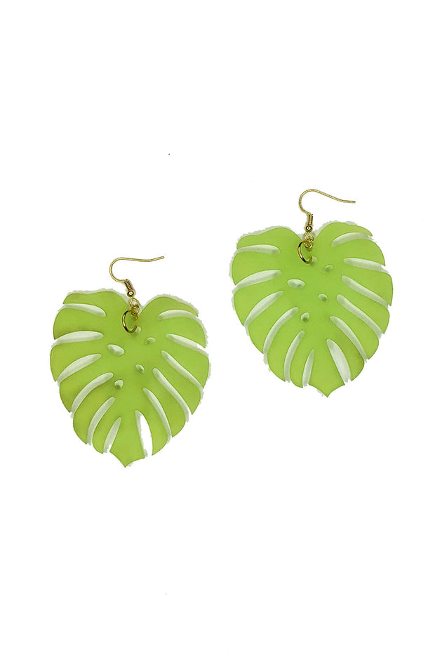 Tee-Ki Togs Monstera Leaf Frosted Bright Green Earrings Small, Medium, & Large