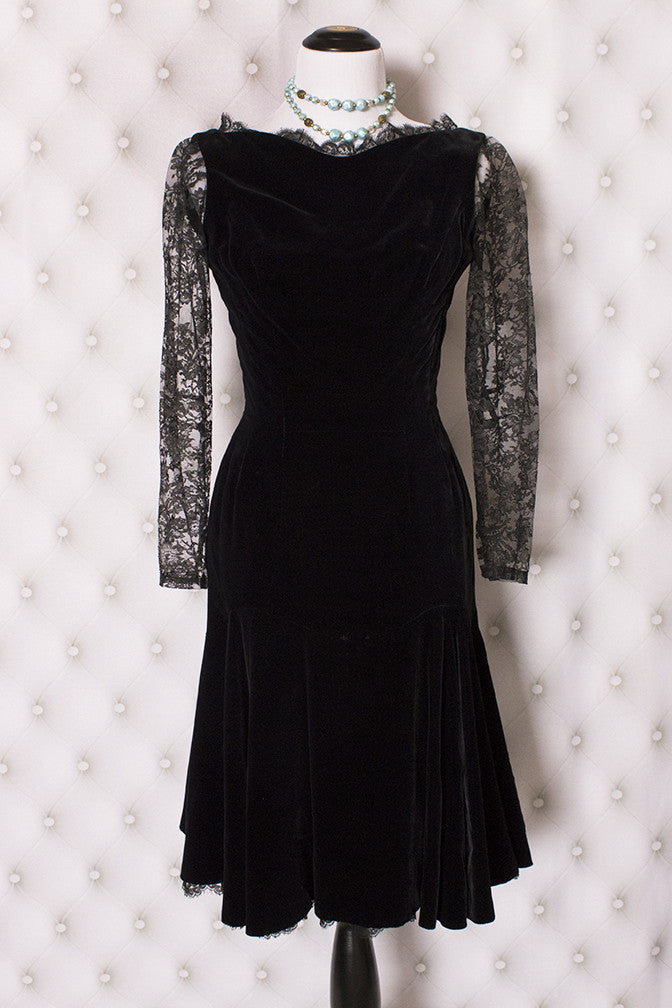 Vintage Inky Black Velvet and Lace Cocktail Dress S-M