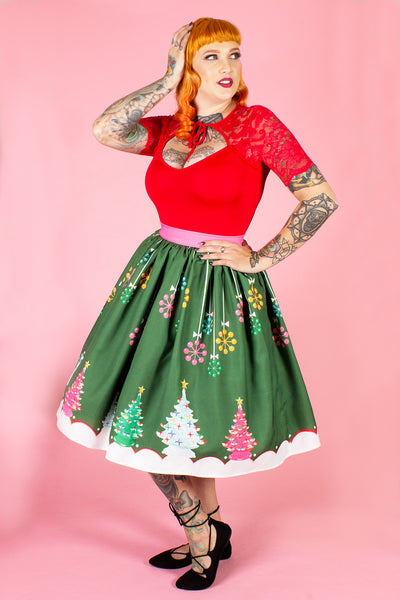 Kitschy Christmas Green Novelty Print Gathered Skirt