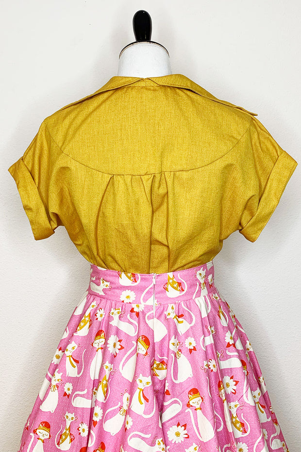 Spicy Mustard Button Up Top (1492566769719)