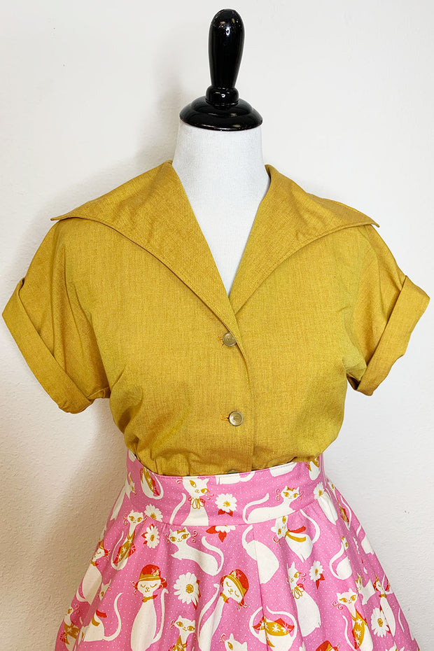 Spicy Mustard Button Up Top